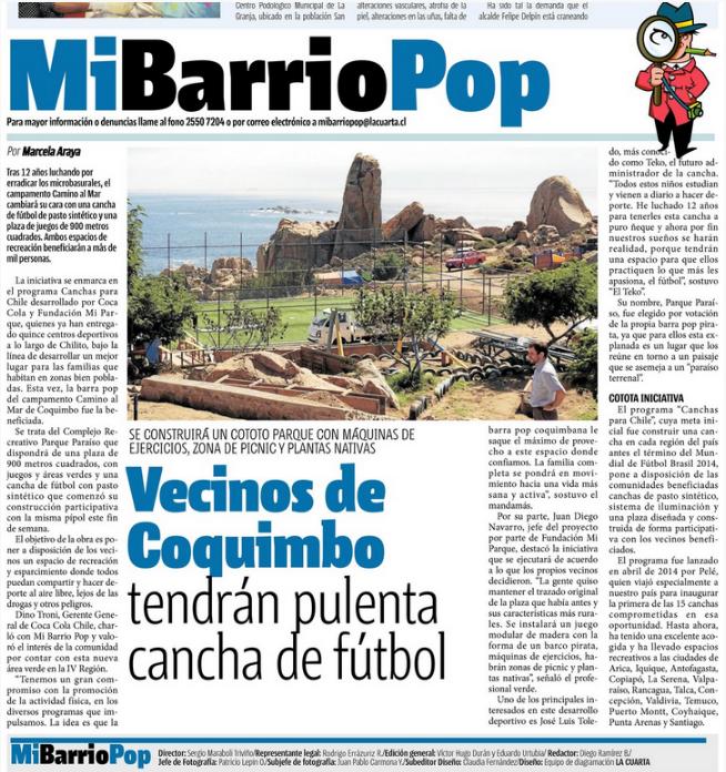 Canchas Para Chile en el Diario La Cuarta - Fundación Mi Parque